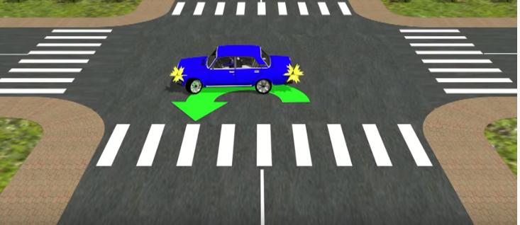 синий авто движется на встречном направление на перекрестке
