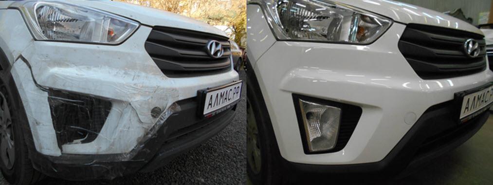Hyundai Creta до и после ремонта в кузовном цехе Алмас